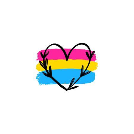 Icono de vector bandera pansexual y corazón de marco floral. Concepto de lesbianas. Ilustración vectorial.