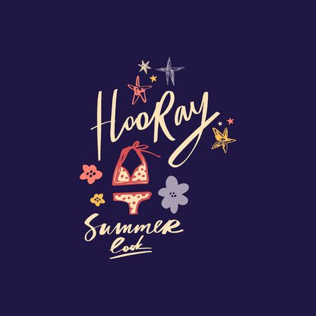 Summer starter pack clothing. Two piece swimsuit. Handdrawn cute lettering text. Vector illustration.