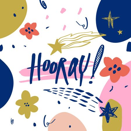 Hooray congratulation, happy day. Hand drawn lettering text. Design elements for social media, poster, t-shirt print, leaflet. Vector illustration. Çizim