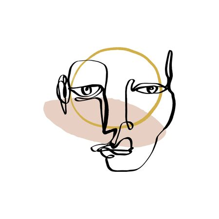 Modern abstract trendy outline face. Contemporary portrait silhouette. Hand drawn continuous line, minimalistic concept. Print for clothes, textile and other. Vector illustration. Vektorové ilustrace