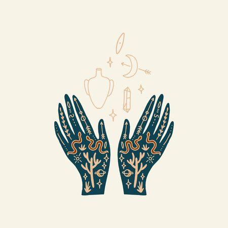 Hand with tattoo. Crystals, snakes and cacti plants. Eye of Providence. Moon goddess symbol. Astrology, alchemy, boho and magical symbols. Vector illustration. Vektoros illusztráció