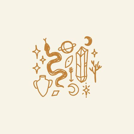 Handdrawn tattoo sketches. Crystals, snakes and cacti plants. Eye of Providence. Moon goddess symbol. Astrology, alchemy, boho and magical symbols. Vector illustration.