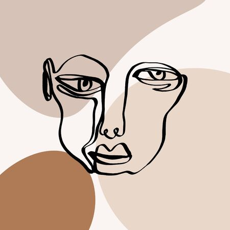 Modern abstract trendy outline face. Contemporary portrait silhouette. Hand drawn continuous line, minimalistic concept. Print for clothes, textile and other. Vector illustration.