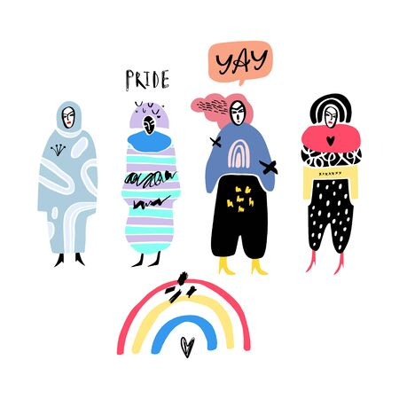 Gay Pride collage people characters set. LGBT concept vector illustration.