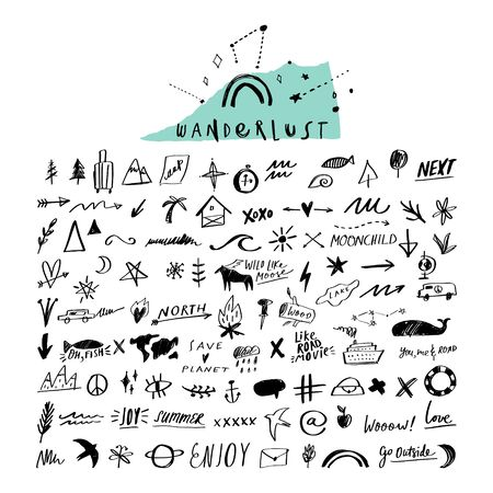 Travel doodle handdrawn sketch vector icons set. Symbols, signs, photo overlays collection