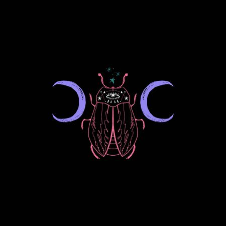 space magic beetle. Sacred Moon symbol, abstract art  イラスト・ベクター素材