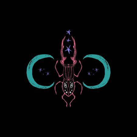 escarabajo mágico espacial. Símbolo de la luna sagrada, arte abstracto Ilustración de vector