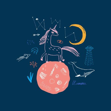 Magic cute unicorn walking on the moon. Nursery poster, postcard, vector illustration Illusztráció
