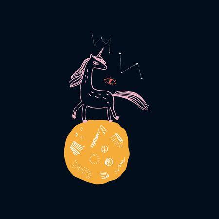 Magic cute unicorn walking on the moon. Nursery poster, postcard, vector illustration Illustration