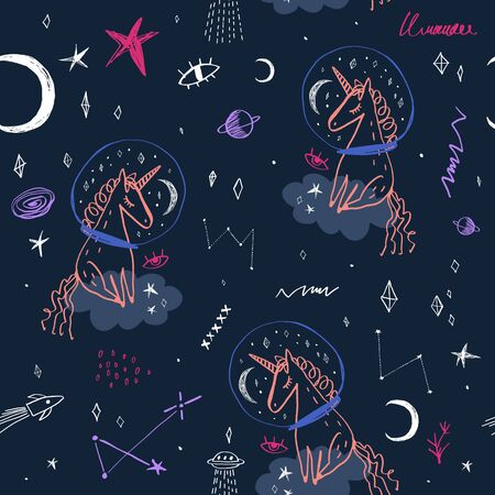 Space and unicorn pattern, hand drawing doodle childish vector illustration