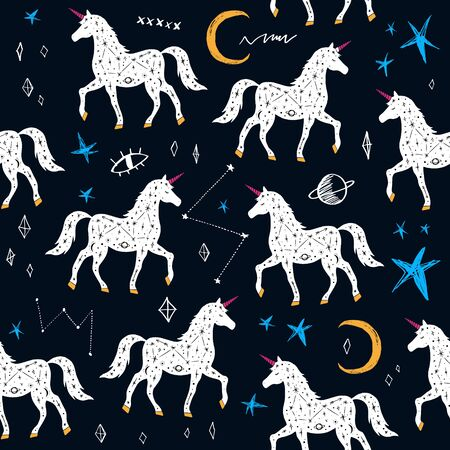 Magic cute unicorn walking in Galaxy, constellations seamless pattern. Nursery vector illustration