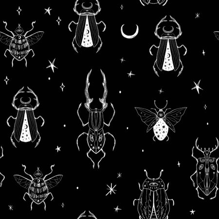 Seamless pattern with hand drawn space magic beetles. Sacred Moon symbol, abstract art