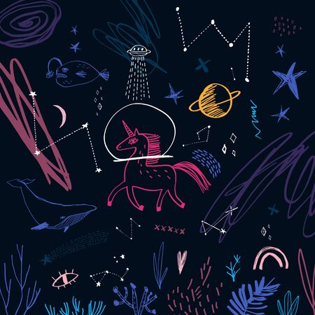Space underwater scene with unicorn, whale, Moon and stars. Doodle childish vector illustration Illustration