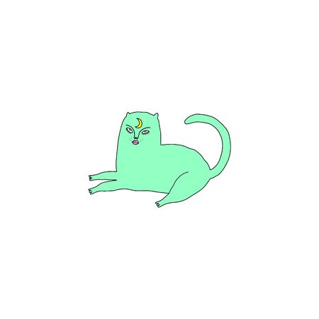 mystical green witch cat. Cartoon doodle stupid style. Halloween, pagan, witchcraft and fairy tale theme. Vector illustration