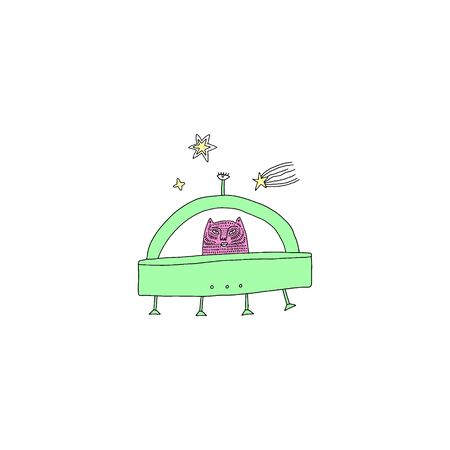 mystical cat UFO in Space. Cartoon doodle stupid style. Halloween fairy tale theme. Vector illustration