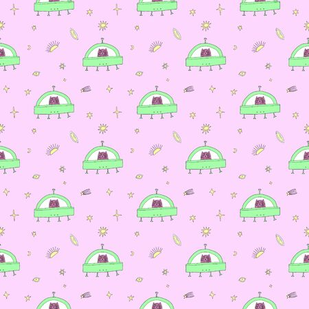 Cat UFO in Space seamless pattern. Cartoon doodle stupid style. Halloween fairy tale theme. Vector illustration Illusztráció