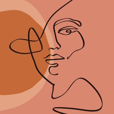 Terracotta Line Art Print Abstract Face Modern Digital Painting Fashion Scandinavian Style Color Abstraction Poster Contemporary Print Burnt Orange Vector Illustration Clipart Foto de archivo - 129787428