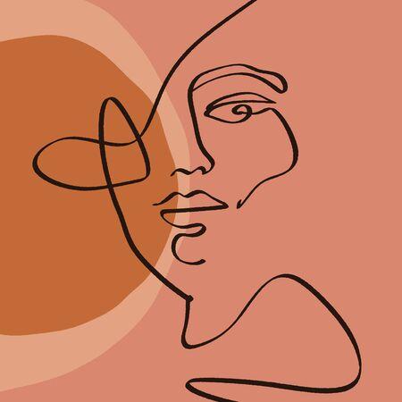 Terre cuite ligne Art Print abstrait visage peinture numérique moderne mode Style scandinave couleur abstraction affiche impression contemporaine orange brûlé Vector Illustration Clipart Vecteurs