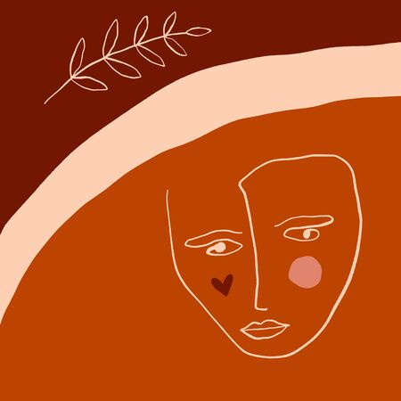 Terracotta Line Art Print Abstract Face Modern Digital Painting Fashion Scandinavian Style Color Abstraction Poster Contemporary Print Burnt Orange Vector Illustration Clipart