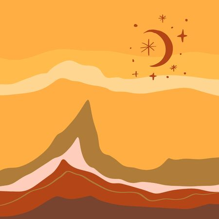 Terracotta Abstract Modern Minimalistic Landscape Digital Painting Fashion Scandinavian Style Color Liquid Shapes Abstraction Poster Contemporary Print Burnt Orange Vector Illustration