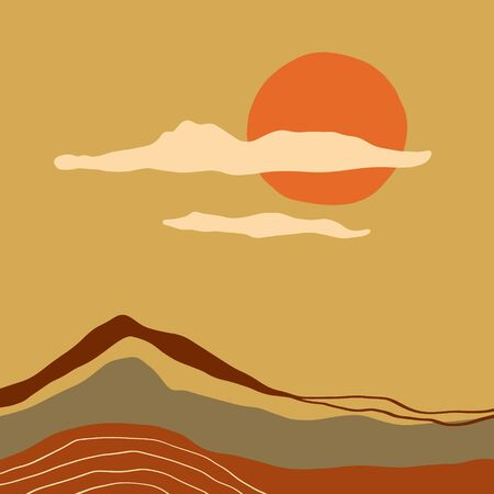 Terracotta Abstract Modern Minimalistic Landscape Digital Painting Fashion Scandinavian Style Color Liquid Shapes Abstraction Poster Contemporary Print Burnt Orange Vector Illustration Stock fotó - 131551401