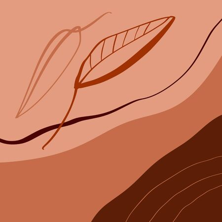 Terracotta Floral Line Art Print Abstract Modern Digital Painting Fashion Scandinavian Style Color Liquid Shapes Abstraction Poster Contemporary Print Burnt Orange Vector Illustration