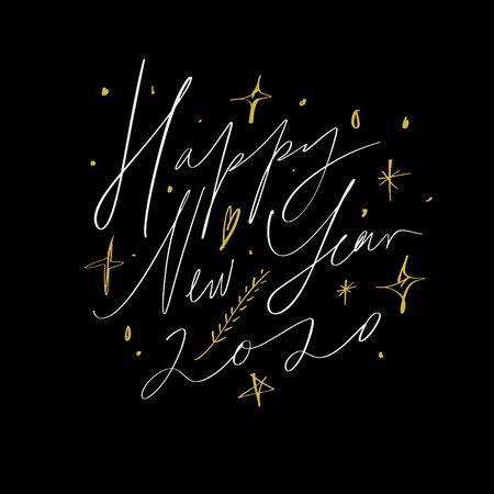 2020 Glossy Shine Christmas Concept Design Happy New Year, Xmas holidays Hand Chill Party Modern Abstract Shapes Written Lettering Decor Elements Golden Stars Isolated On Dark Background. Vector