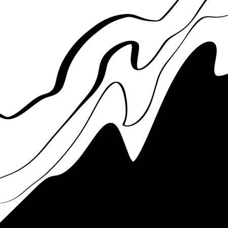 Black Lines Smooth Abstract Simple Wave Water Shape Black And White Coating Minimalistic Element Poster Grunge Sketch Flat Vector Illustration