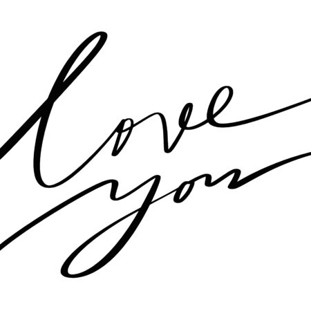 Love cute lettering calligraphy. Hand drawn cute lettering postcard, poster