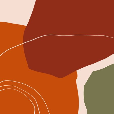 Terracotta Art Print Abstract Modern Digital Painting Fashion Scandinavian Style Color Abstraction Poster Contemporary Print Burnt Orange Vector Illustration Clipart Stock fotó - 130739581