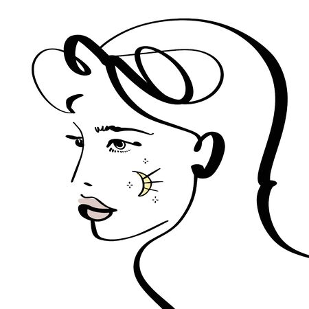 Girl Line Drawing Glamorous Witch Lunar Horoscope Season Sacred Magic Magazine Fashion Illustration Cover Social Network Banner Template Çizim