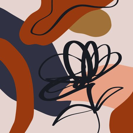 Terracotta Floral Art Print Abstract Modern Digital Painting Fashion Scandinavian Style Abstraction Poster Contemporary Print Burnt Orange Vector Illustration Clipart