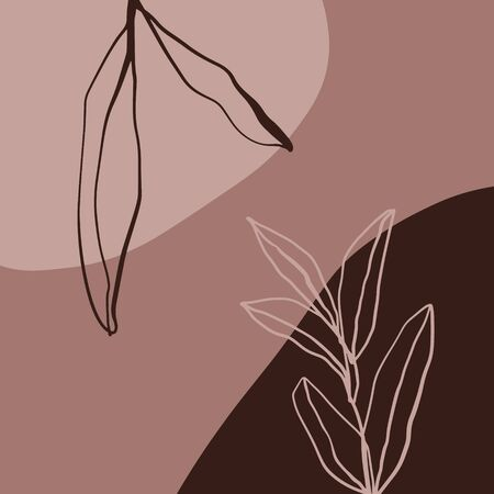 Modern Abstract Shapes And Plants Terrae Modern Geometric Texture Poster Brown Floral Art Print Painting Fashion Color Abstraction Contemporary Burnt Orange Vector Illustration Clipart 2020 trend 向量圖像