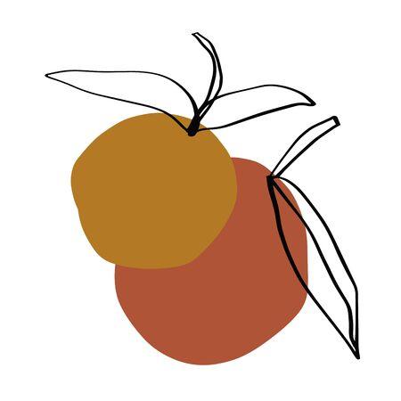 Modern Orange Fruit Terrae Modern Geometric Texture Poster Terracotta Floral Art Print Painting Fashion Color Abstraction Contemporary Burnt Orange Vector Illustration Clipart 2020 trend
