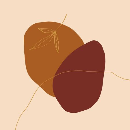 Terracotta Rust Art Print Abstract Modern Digital Painting Fashion Scandinavian Style Color Abstraction Poster Contemporary Print Burnt Orange Vector Illustration Clipart