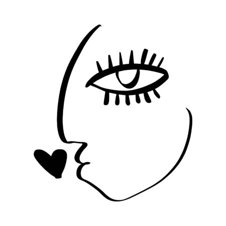 Simple hand drawn black and white trendy line portrait face art. Abstract composition. Monochrome print for clothes, textile, posters and other. Vector illustration 向量圖像