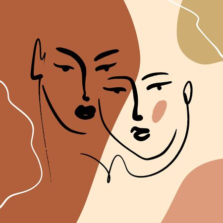 Abstract Warm Terracotta Nude Color Shapes Interior Poster Fashion Artistic Portrait Painted Illustration Face Silhouette Line Drawing Abstraction Modern Aesthetic Print Minimalism Contour Handdrawn Lineart Continuous Style Vector .