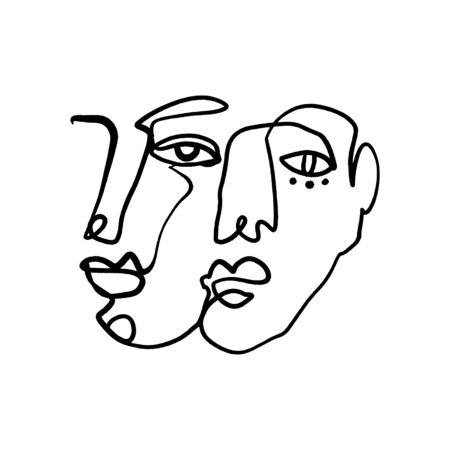 Abstract Fashion Artistic Portrait Painted Illustration Of People Faces Silhouette Couple One Line Drawing Abstraction Modern Aesthetic Print Minimalism Interior Contour Handdrawn Lineart Continuous Style Vector .