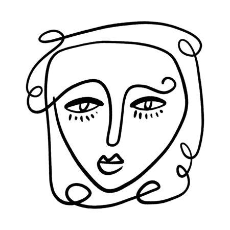 Retrato artístico abstracto de la moda Ilustración pintada de la silueta de la cara de la gente Dibujo de una línea Abstracción Impresión estética moderna Minimalismo Contorno interior Handdrawn Line Art Estilo continuo Vector.
