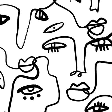 Abstract Fashion Artistic Portrait Painted Illustration Of People Faces Silhouette Group Pattern One Line Drawing Abstraction Modern Aesthetic Print Minimalism Interior Contour Handdrawn Lineart Continuous Style Vector EPS.