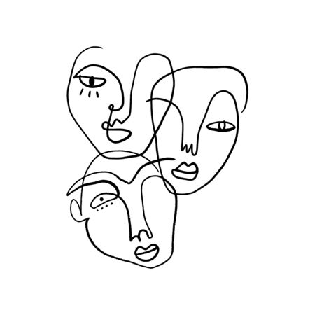 Abstract Fashion Artistic Portrait Painted Illustration Of People Faces Silhouette Group Pattern One Line Drawing Abstraction Modern Aesthetic Print Minimalism Interior Contour Handdrawn Lineart Continuous Style Vector .