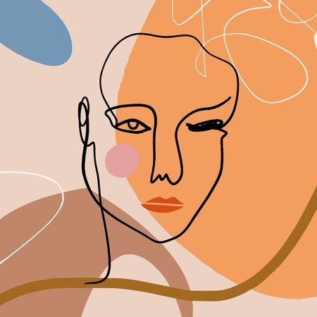 Drawing Face Ink Sketch Doodle Style Mono Line Portrait Brush Strokes Beige Brown Cream Modern Abstract Art Scandinavian Style Terracotta Palette