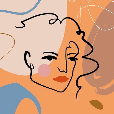 Dibujo Cara Tinta Boceto Estilo Doodle Línea monocroma Retrato Pinceladas Beige Marrón Crema Arte abstracto moderno Estilo escandinavo Paleta de terracota