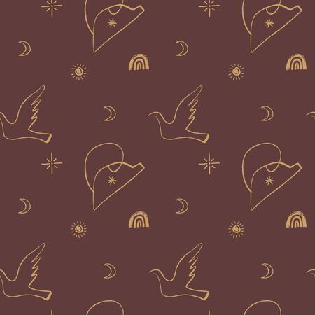 Picasso style dove seamless pattern. Love and peace symbol. Vector Elements