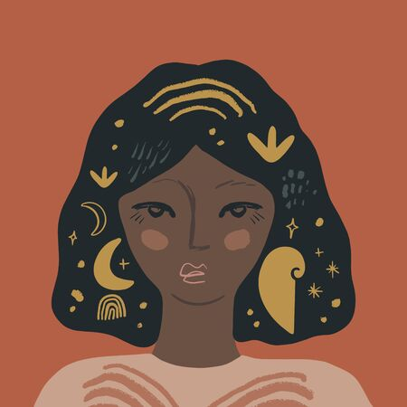 Plant Lady African American Magical Pretty Girl Elf Female Portrait Black Fairy Beauty Concept Woman Avatar Fashion Beauty Flat Style Vector Illustration 矢量图像