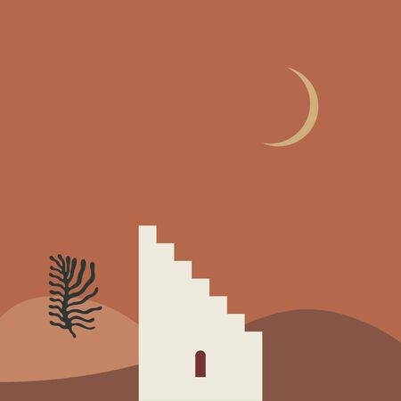 Landscape in abstract style, minimal design. Flat architecture element. Night desert. Vector illustration. Clipart image.