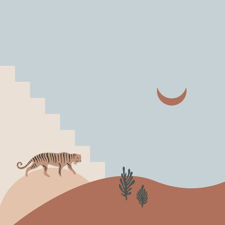 Cartoon cute tiger and Moon in desert. Hand drawn wild cat. Flat design collage composition. Creative modern nursery poster or banner. Pastel colors. Vector illustration. Clipart image.