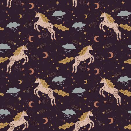 Cute isolated stylish boho unicorns seamless pattern design. Good night concept. Magical animals. Pastel colors. Pony nursery print. Vector illustration
