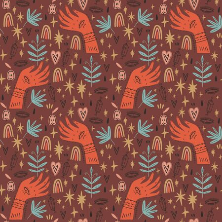 Magical ornate hands seamless pattern. Vector Illustration. Clipart image Ilustração
