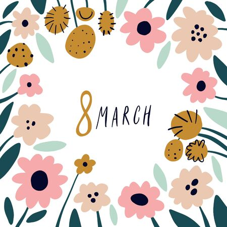 International Womens Day 8 March floral spring text template background with pink decorative flowers in scandinavian style, hand drawn art. Happy Women s Day template for greeting cards, banners, sale announcement and more. Vector EPS clip art